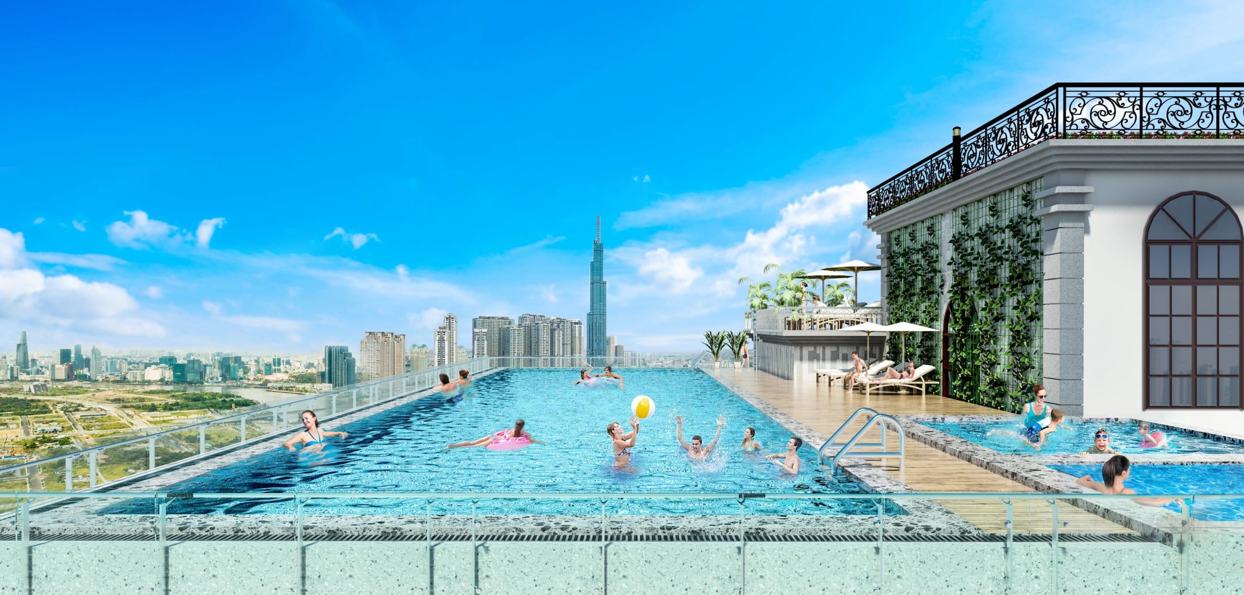 Hồ bơi tràn viền ngay tại Paris Hoàng Kim