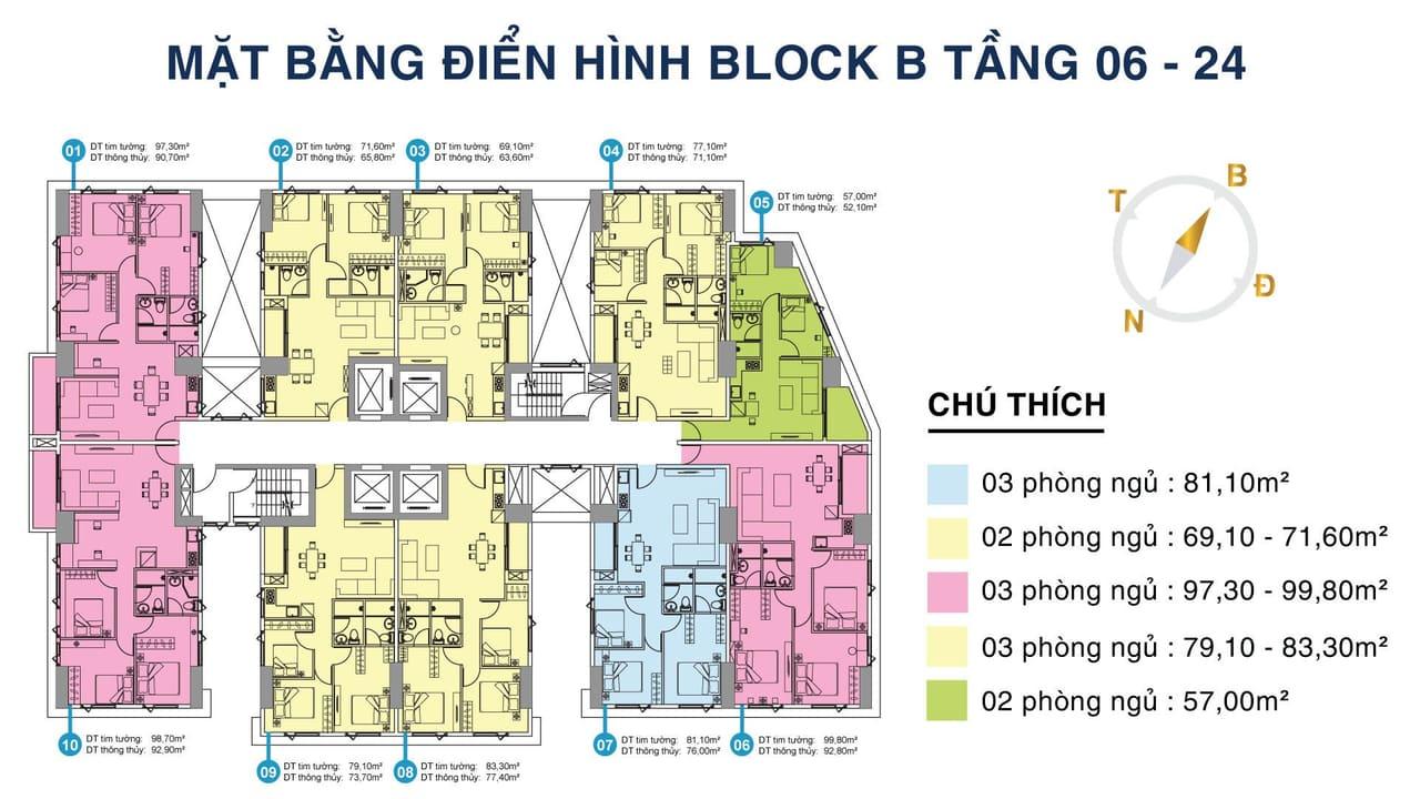 Mặt bằng điển hình Block B Tầng 6 - 24